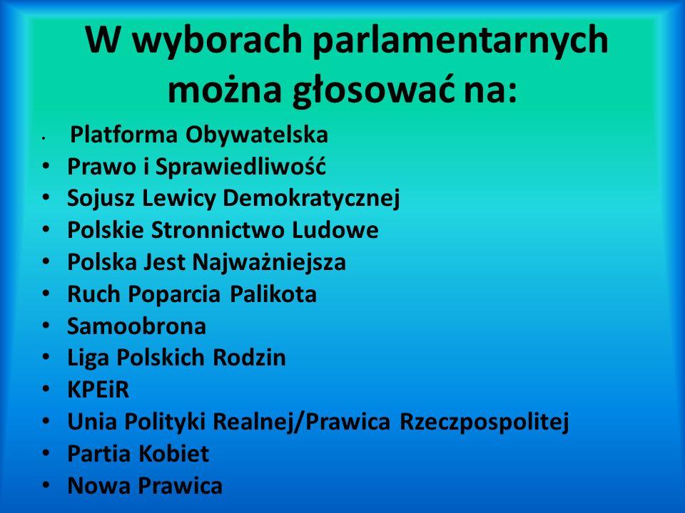 W wyborach parlamentarnych można głosować na: Platforma Obywatelska Prawo i Sprawiedliwość Sojusz Lewicy Demokratycznej Polskie Stronnictwo Ludowe Pol
