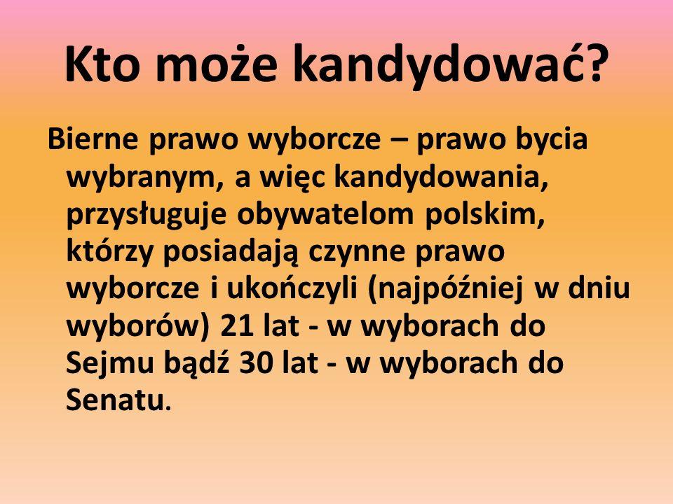 Kto może kandydować? Bierne prawo wyborcze – prawo bycia wybranym, a więc kandydowania, przysługuje obywatelom polskim, którzy posiadają czynne prawo
