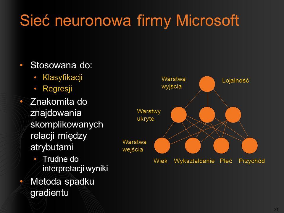 21 Sieć neuronowa firmy Microsoft Stosowana do: Klasyfikacji Regresji Znakomita do znajdowania skomplikowanych relacji między atrybutami Trudne do int