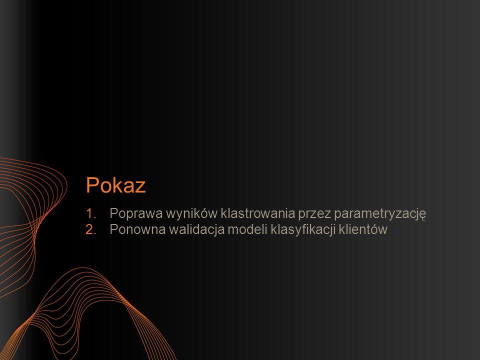 Pokaz 1.Poprawa wyników klastrowania przez parametryzację 2.Ponowna walidacja modeli klasyfikacji klientów