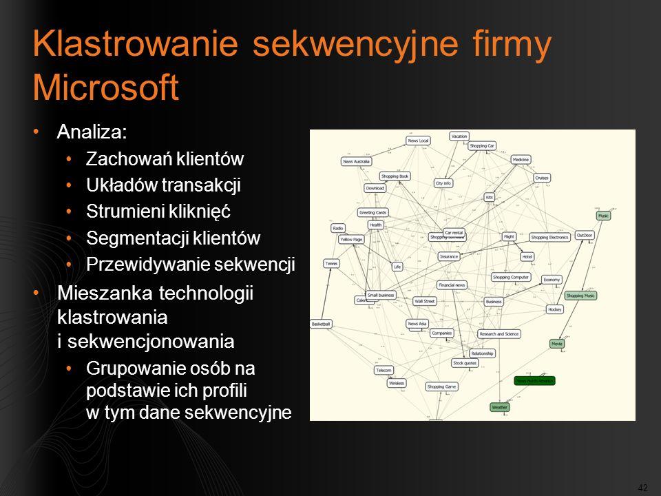 42 Klastrowanie sekwencyjne firmy Microsoft Analiza: Zachowań klientów Układów transakcji Strumieni kliknięć Segmentacji klientów Przewidywanie sekwen