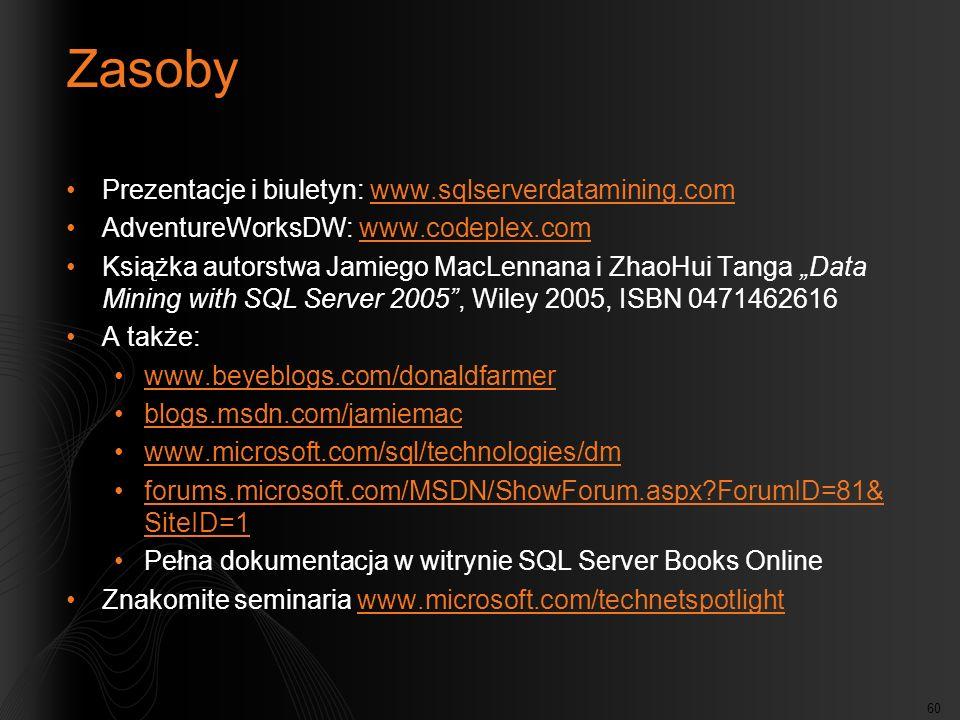 60 Zasoby Prezentacje i biuletyn: www.sqlserverdatamining.comwww.sqlserverdatamining.com AdventureWorksDW: www.codeplex.comwww.codeplex.com Książka au