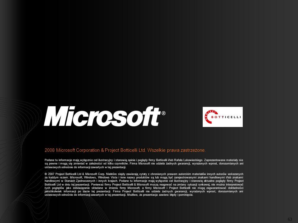 63 2008 Microsoft Corporation & Project Botticelli Ltd. Wszelkie prawa zastrzeżone. Podane tu informacje mają wyłącznie cel ilustracyjny i stanowią op
