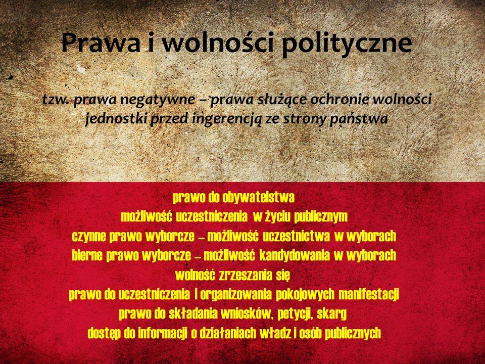 Prawa i wolności polityczne tzw. prawa negatywne – prawa służące ochronie wolności jednostki przed ingerencją ze strony państwa prawo do obywatelstwa