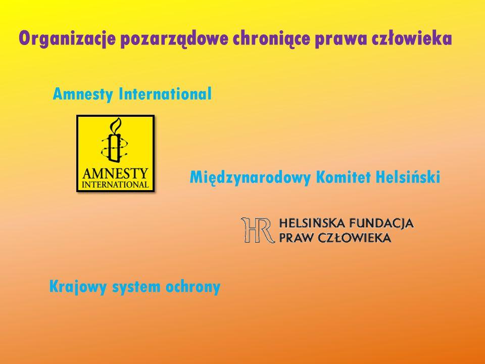 Organizacje pozarządowe chroniące prawa człowieka Amnesty International Międzynarodowy Komitet Helsiński Krajowy system ochrony