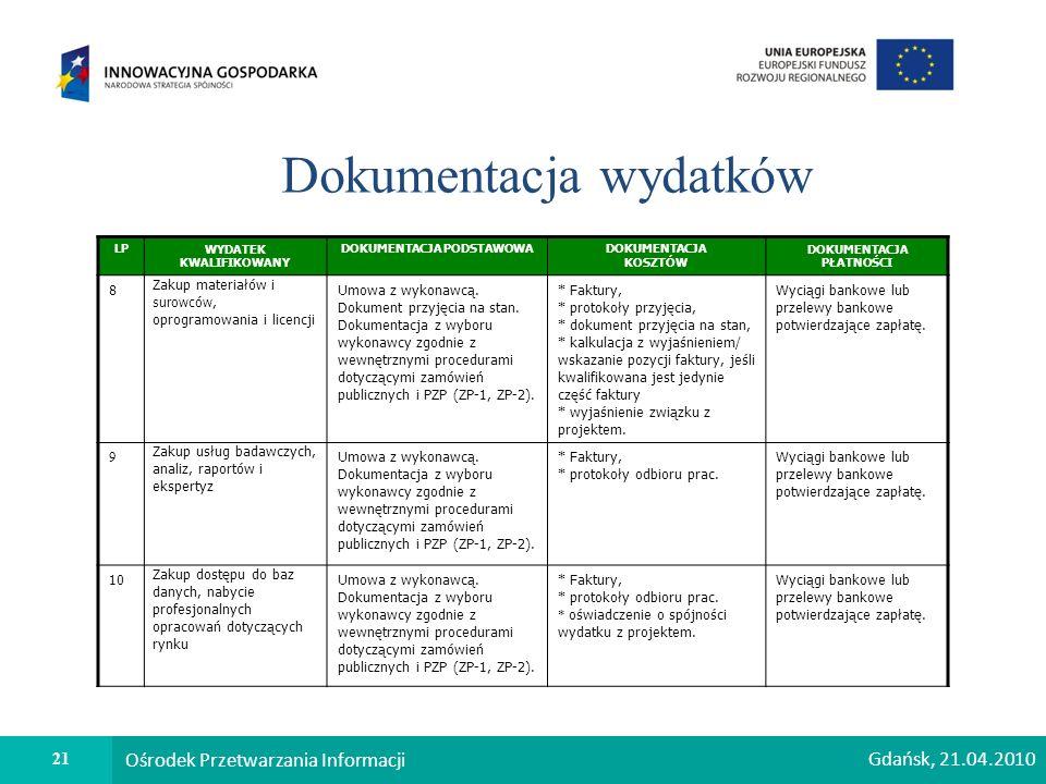 21 Ośrodek Przetwarzania Informacji Gdańsk, 21.04.2010 Dokumentacja wydatków LPWYDATEK KWALIFIKOWANY DOKUMENTACJA PODSTAWOWADOKUMENTACJA KOSZTÓW DOKUMENTACJA PŁATNOŚCI 8 Zakup materiałów i surowców, oprogramowania i licencji Umowa z wykonawcą.
