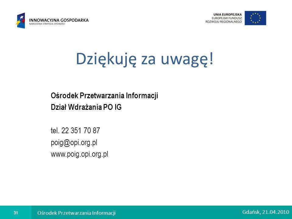 Dziękuję za uwagę. Ośrodek Przetwarzania Informacji Dział Wdrażania PO IG tel.