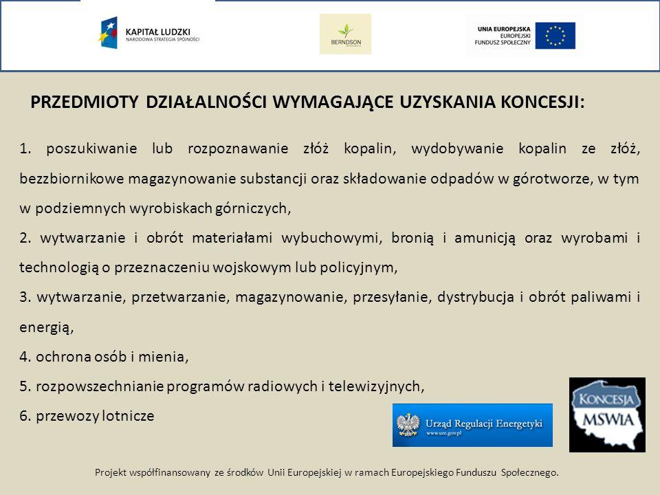 Projekt współfinansowany ze środków Unii Europejskiej w ramach Europejskiego Funduszu Społecznego. PRZEDMIOTY DZIAŁALNOŚCI WYMAGAJĄCE UZYSKANIA KONCES