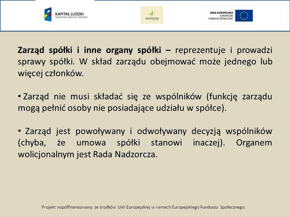 Projekt współfinansowany ze środków Unii Europejskiej w ramach Europejskiego Funduszu Społecznego. Zarząd spółki i inne organy spółki – reprezentuje i