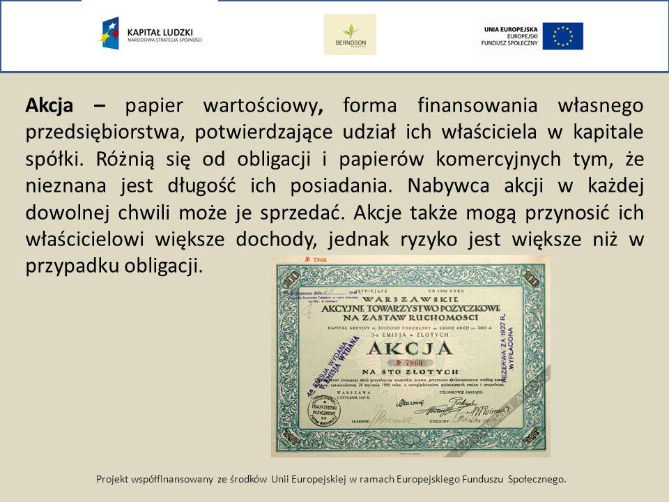 Projekt współfinansowany ze środków Unii Europejskiej w ramach Europejskiego Funduszu Społecznego. Akcja – papier wartościowy, forma finansowania włas