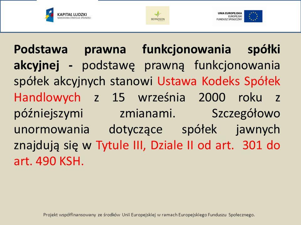 Projekt współfinansowany ze środków Unii Europejskiej w ramach Europejskiego Funduszu Społecznego. Podstawa prawna funkcjonowania spółki akcyjnej - po