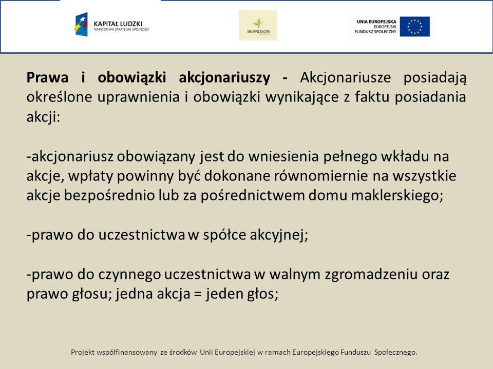 Projekt współfinansowany ze środków Unii Europejskiej w ramach Europejskiego Funduszu Społecznego. Prawa i obowiązki akcjonariuszy - Akcjonariusze pos