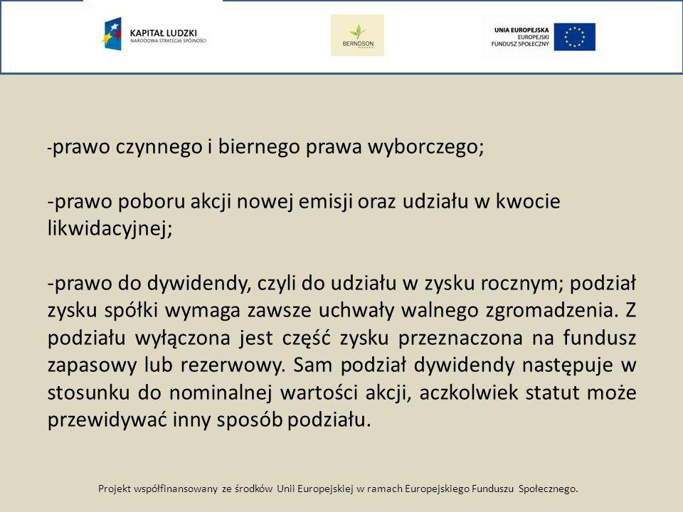 Projekt współfinansowany ze środków Unii Europejskiej w ramach Europejskiego Funduszu Społecznego. - prawo czynnego i biernego prawa wyborczego; -praw