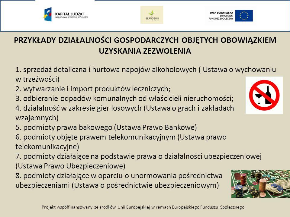 Projekt współfinansowany ze środków Unii Europejskiej w ramach Europejskiego Funduszu Społecznego. PRZYKŁADY DZIAŁALNOŚCI GOSPODARCZYCH OBJĘTYCH OBOWI
