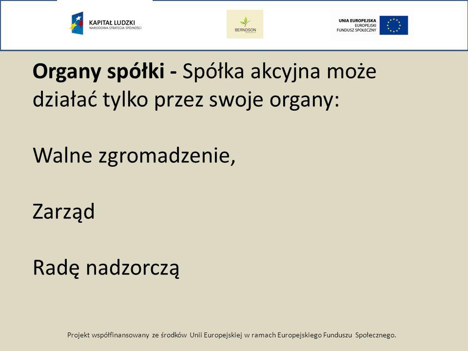 Projekt współfinansowany ze środków Unii Europejskiej w ramach Europejskiego Funduszu Społecznego. Organy spółki - Spółka akcyjna może działać tylko p