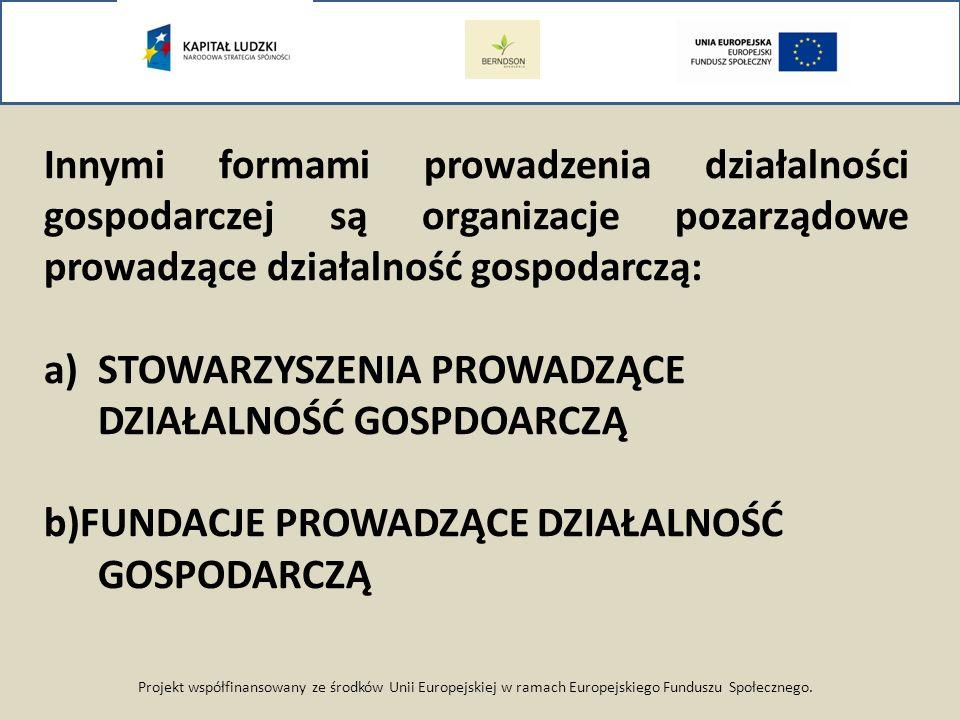 Projekt współfinansowany ze środków Unii Europejskiej w ramach Europejskiego Funduszu Społecznego. Innymi formami prowadzenia działalności gospodarcze