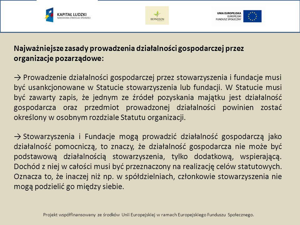 Projekt współfinansowany ze środków Unii Europejskiej w ramach Europejskiego Funduszu Społecznego. Najważniejsze zasady prowadzenia działalności gospo