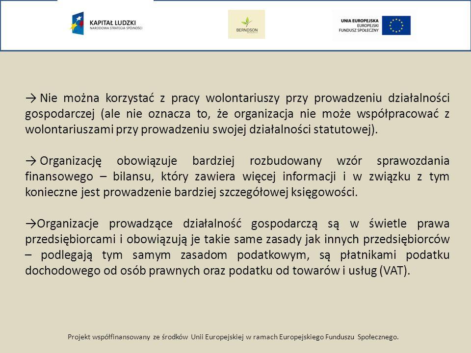Projekt współfinansowany ze środków Unii Europejskiej w ramach Europejskiego Funduszu Społecznego. Nie można korzystać z pracy wolontariuszy przy prow