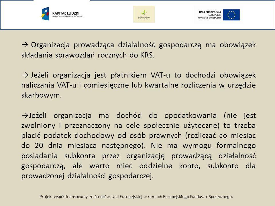 Projekt współfinansowany ze środków Unii Europejskiej w ramach Europejskiego Funduszu Społecznego. Organizacja prowadząca działalność gospodarczą ma o