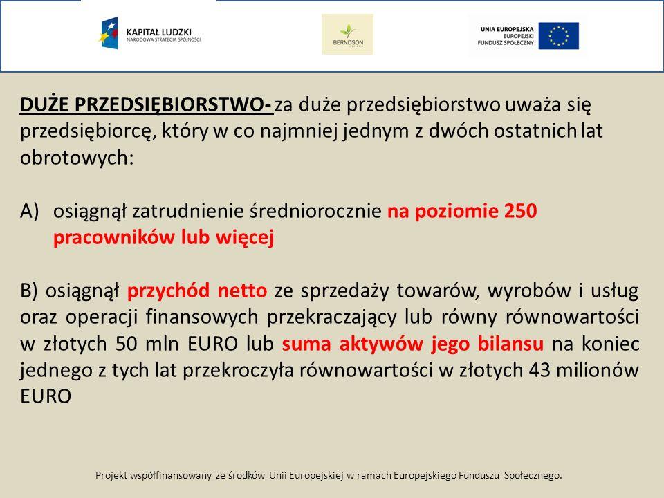 Projekt współfinansowany ze środków Unii Europejskiej w ramach Europejskiego Funduszu Społecznego. DUŻE PRZEDSIĘBIORSTWO- za duże przedsiębiorstwo uwa