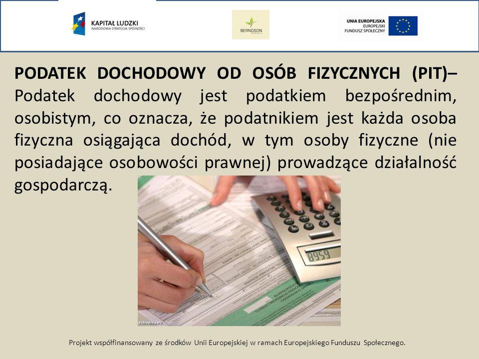 Projekt współfinansowany ze środków Unii Europejskiej w ramach Europejskiego Funduszu Społecznego. PODATEK DOCHODOWY OD OSÓB FIZYCZNYCH (PIT)– Podatek