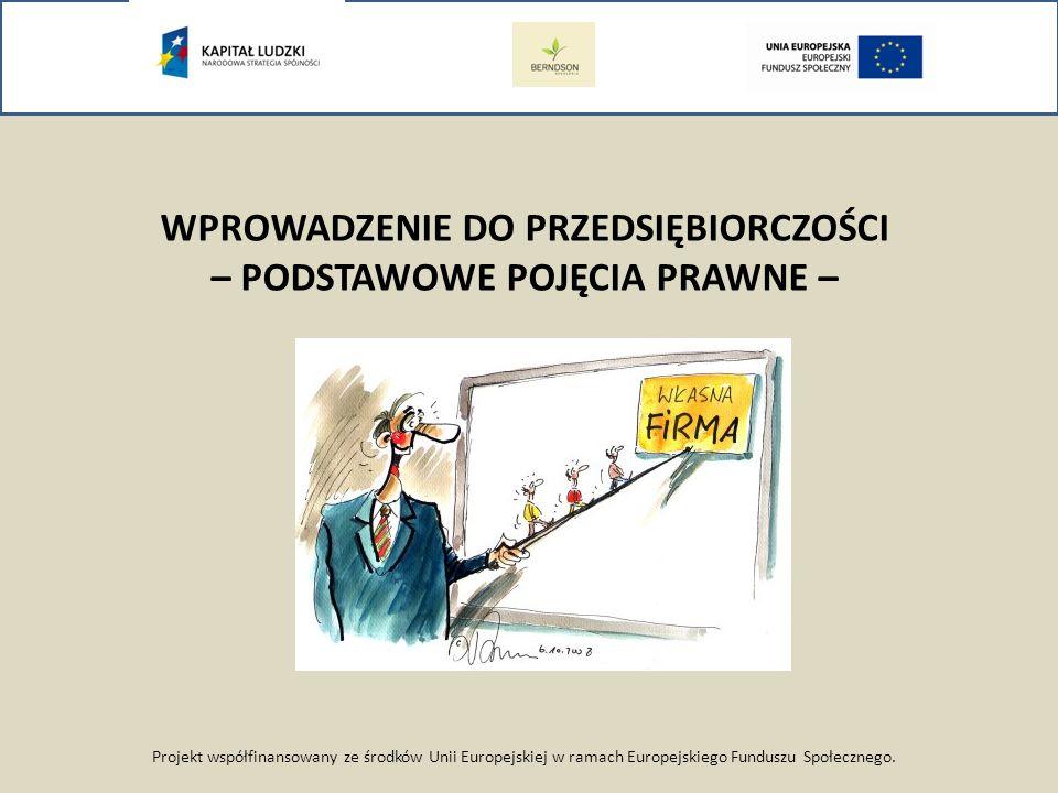 Projekt współfinansowany ze środków Unii Europejskiej w ramach Europejskiego Funduszu Społecznego. WPROWADZENIE DO PRZEDSIĘBIORCZOŚCI – PODSTAWOWE POJ