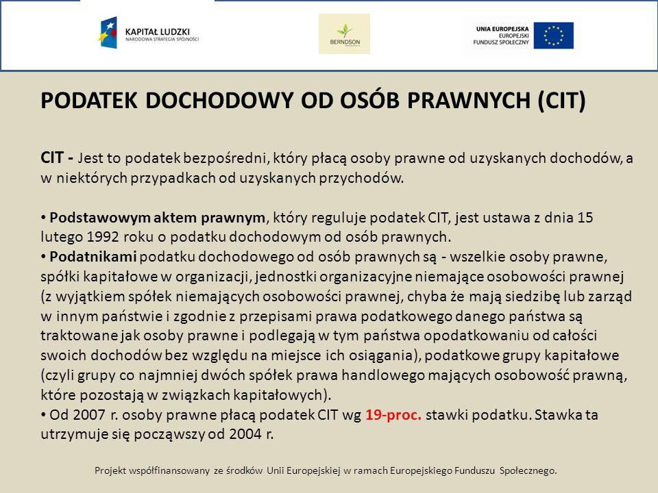 Projekt współfinansowany ze środków Unii Europejskiej w ramach Europejskiego Funduszu Społecznego. PODATEK DOCHODOWY OD OSÓB PRAWNYCH (CIT) CIT - Jest