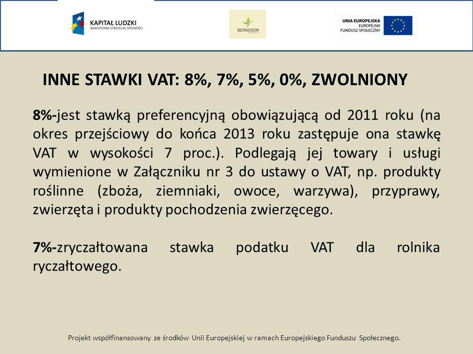 Projekt współfinansowany ze środków Unii Europejskiej w ramach Europejskiego Funduszu Społecznego. INNE STAWKI VAT: 8%, 7%, 5%, 0%, ZWOLNIONY 8%-jest