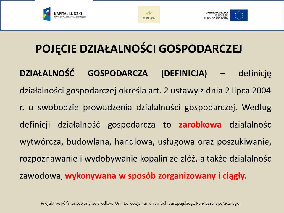 Projekt współfinansowany ze środków Unii Europejskiej w ramach Europejskiego Funduszu Społecznego. POJĘCIE DZIAŁALNOŚCI GOSPODARCZEJ DZIAŁALNOŚĆ GOSPO