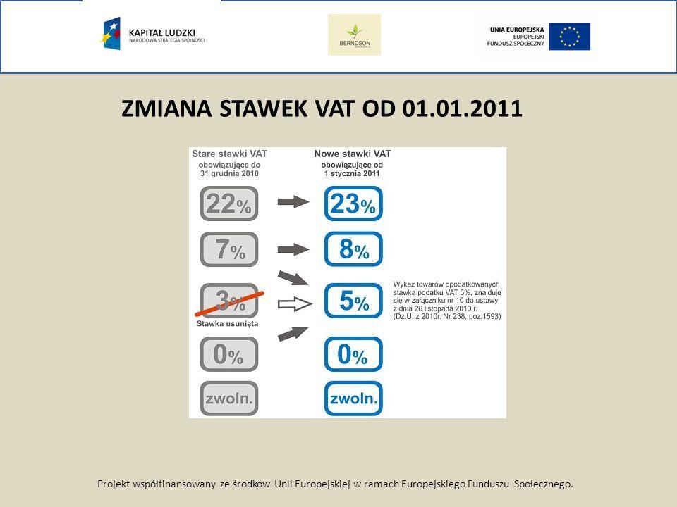 Projekt współfinansowany ze środków Unii Europejskiej w ramach Europejskiego Funduszu Społecznego. ZMIANA STAWEK VAT OD 01.01.2011