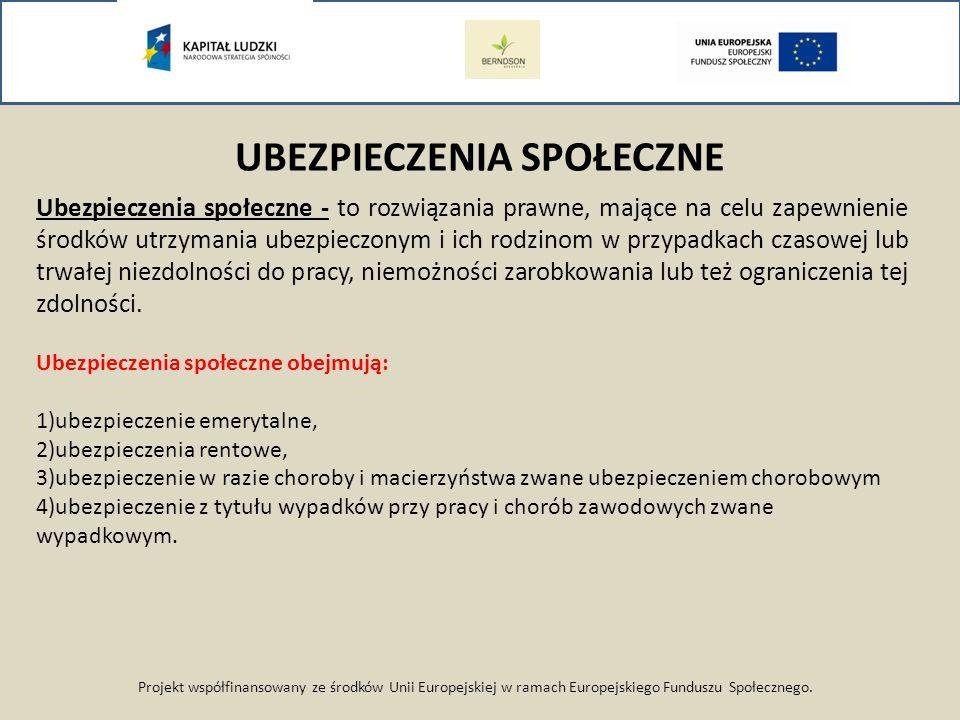Projekt współfinansowany ze środków Unii Europejskiej w ramach Europejskiego Funduszu Społecznego. Ubezpieczenia społeczne - to rozwiązania prawne, ma