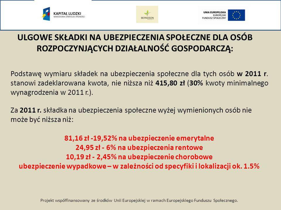 Projekt współfinansowany ze środków Unii Europejskiej w ramach Europejskiego Funduszu Społecznego. Podstawę wymiaru składek na ubezpieczenia społeczne