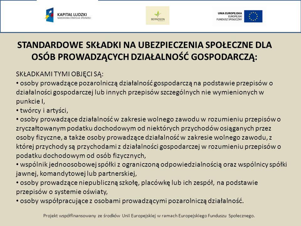 Projekt współfinansowany ze środków Unii Europejskiej w ramach Europejskiego Funduszu Społecznego. STANDARDOWE SKŁADKI NA UBEZPIECZENIA SPOŁECZNE DLA