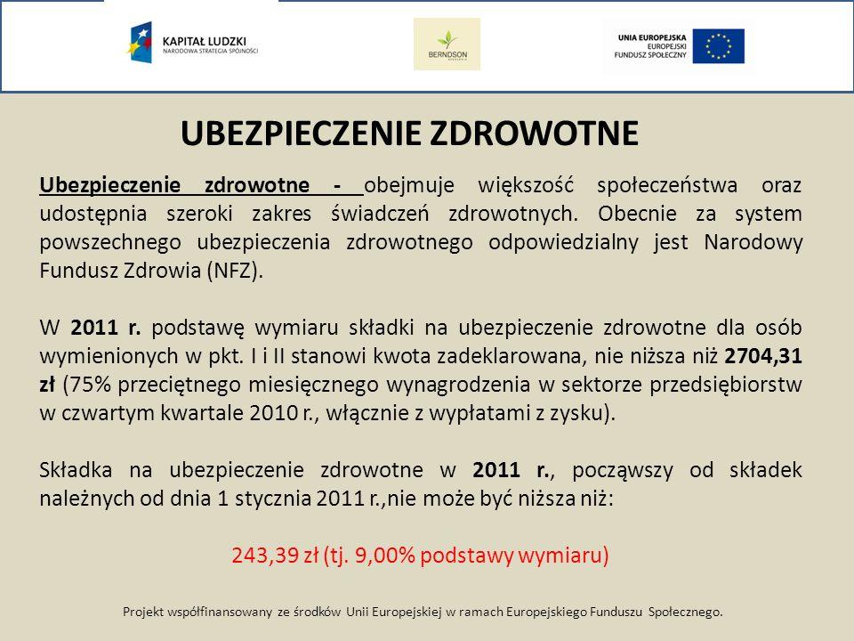 Projekt współfinansowany ze środków Unii Europejskiej w ramach Europejskiego Funduszu Społecznego. UBEZPIECZENIE ZDROWOTNE Ubezpieczenie zdrowotne - o