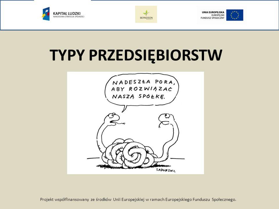 Projekt współfinansowany ze środków Unii Europejskiej w ramach Europejskiego Funduszu Społecznego. TYPY PRZEDSIĘBIORSTW