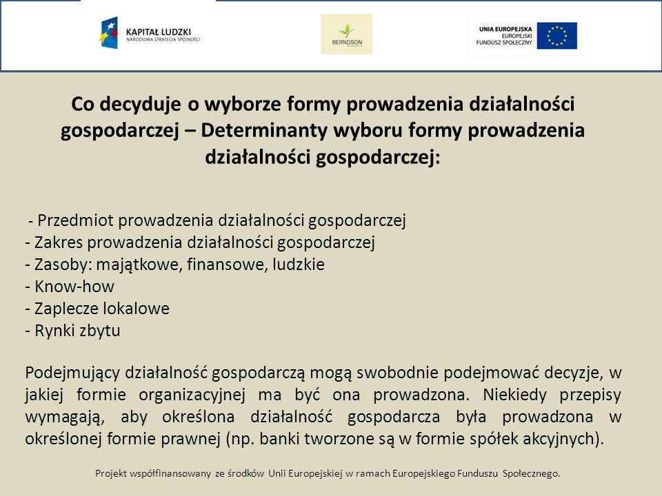 Projekt współfinansowany ze środków Unii Europejskiej w ramach Europejskiego Funduszu Społecznego. Co decyduje o wyborze formy prowadzenia działalnośc