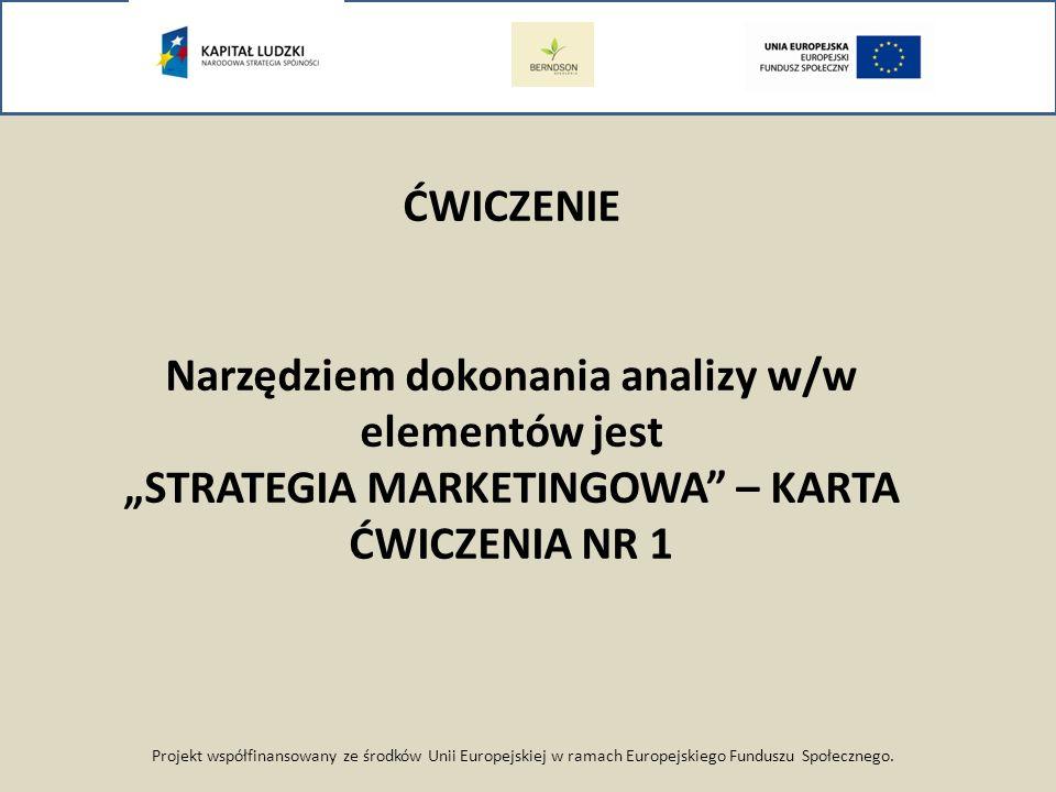 Projekt współfinansowany ze środków Unii Europejskiej w ramach Europejskiego Funduszu Społecznego. ĆWICZENIE Narzędziem dokonania analizy w/w elementó
