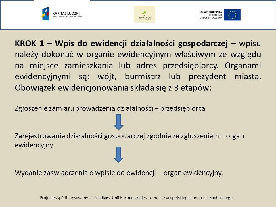 Projekt współfinansowany ze środków Unii Europejskiej w ramach Europejskiego Funduszu Społecznego. KROK 1 – Wpis do ewidencji działalności gospodarcze