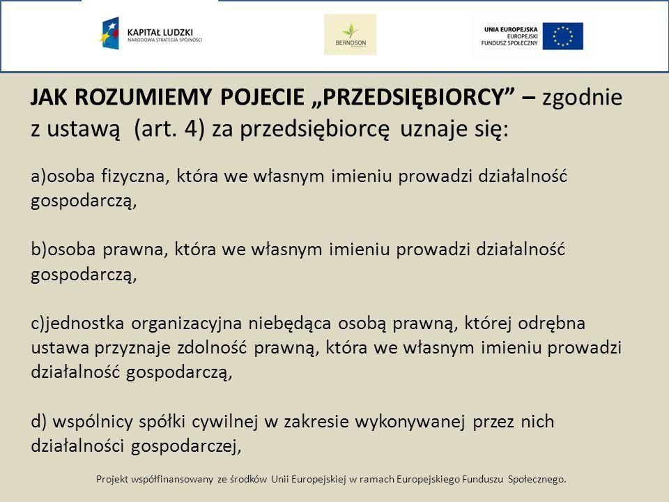 Projekt współfinansowany ze środków Unii Europejskiej w ramach Europejskiego Funduszu Społecznego. JAK ROZUMIEMY POJECIE PRZEDSIĘBIORCY – zgodnie z us