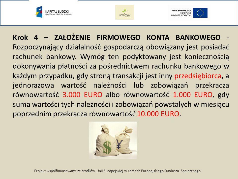 Projekt współfinansowany ze środków Unii Europejskiej w ramach Europejskiego Funduszu Społecznego. Krok 4 – ZAŁOŻENIE FIRMOWEGO KONTA BANKOWEGO - Rozp