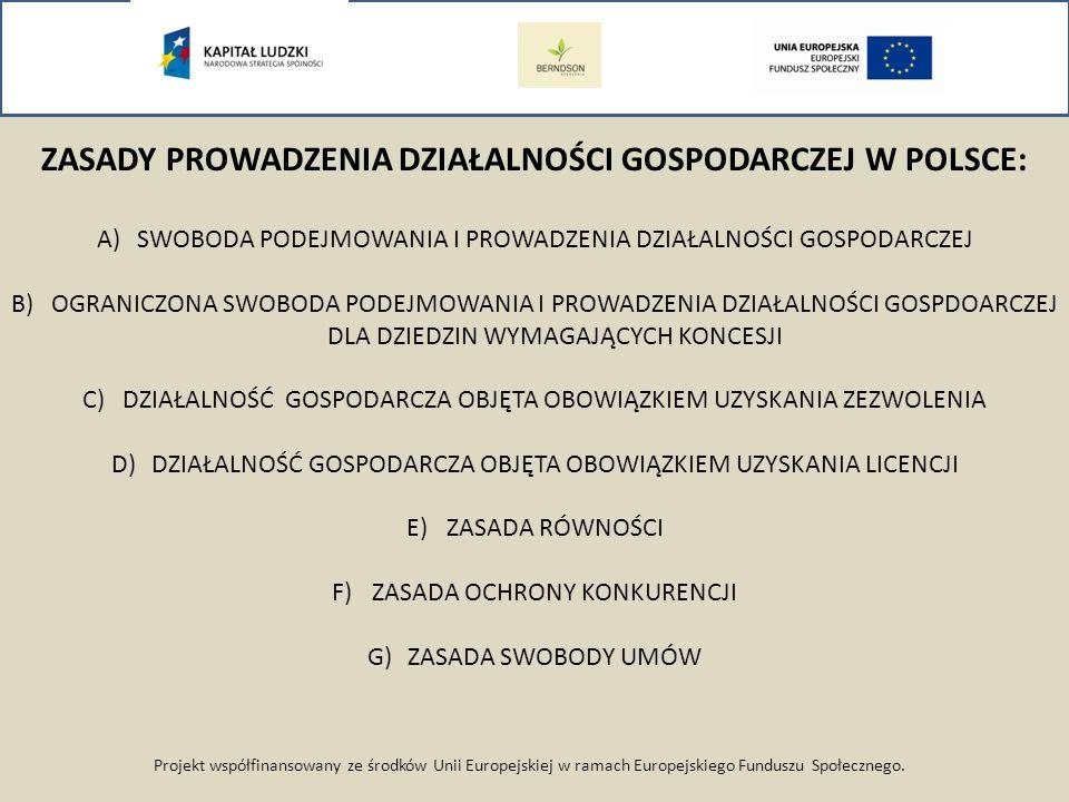 Projekt współfinansowany ze środków Unii Europejskiej w ramach Europejskiego Funduszu Społecznego. ZASADY PROWADZENIA DZIAŁALNOŚCI GOSPODARCZEJ W POLS