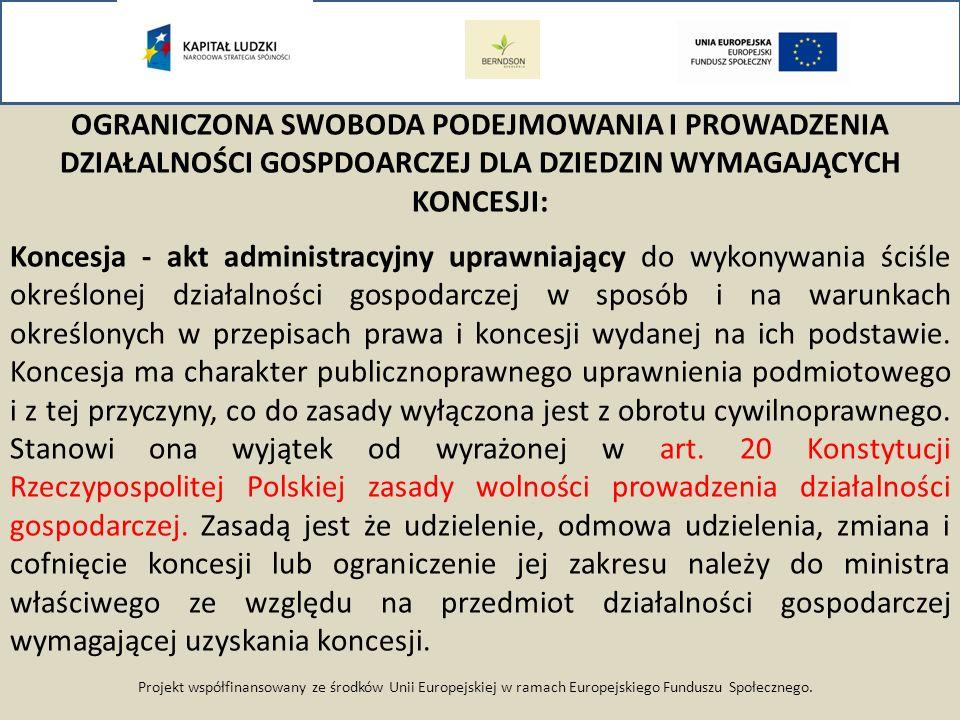 Projekt współfinansowany ze środków Unii Europejskiej w ramach Europejskiego Funduszu Społecznego. OGRANICZONA SWOBODA PODEJMOWANIA I PROWADZENIA DZIA