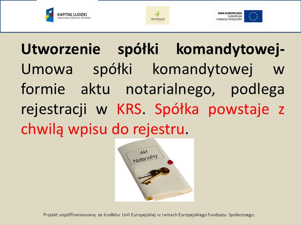 Projekt współfinansowany ze środków Unii Europejskiej w ramach Europejskiego Funduszu Społecznego. Utworzenie spółki komandytowej- Umowa spółki komand