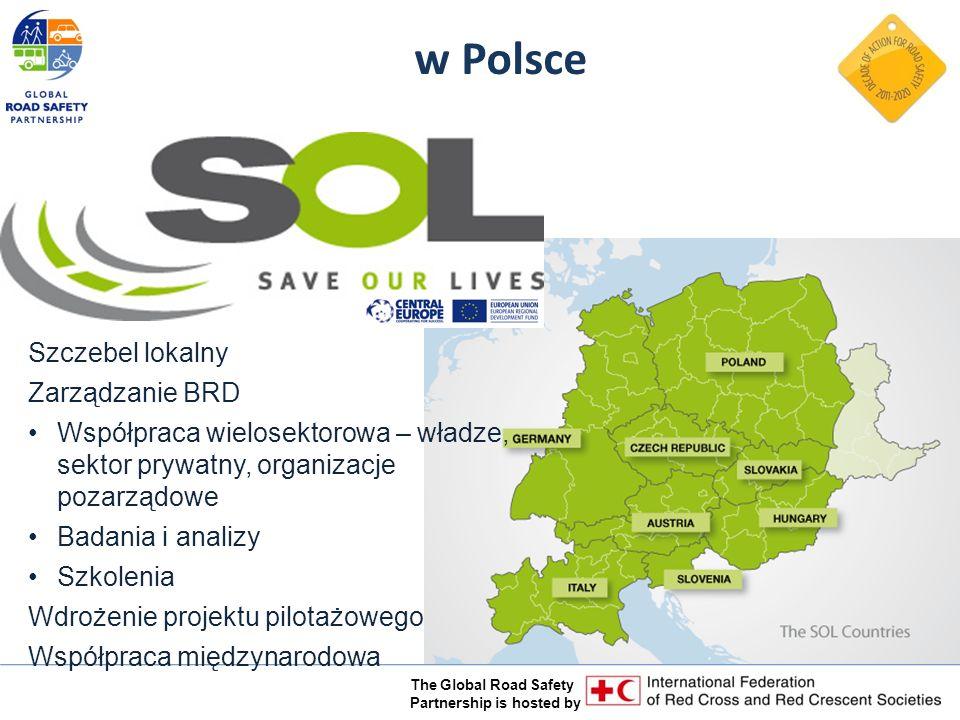 The Global Road Safety Partnership is hosted by w Polsce Szczebel lokalny Zarządzanie BRD Współpraca wielosektorowa – władze, sektor prywatny, organizacje pozarządowe Badania i analizy Szkolenia Wdrożenie projektu pilotażowego Współpraca międzynarodowa