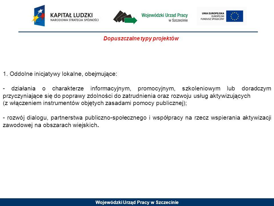 Wojewódzki Urząd Pracy w Szczecinie Wymagania odnośnie grupy docelowej Projekty muszą być skierowane bezpośrednio do następujących grup odbiorców: - osoby pozostające bez zatrudnienia w wieku 15-64 lata; -mieszkańcy gmin wiejskich, miejsko-wiejskich oraz miast do 25 tys.