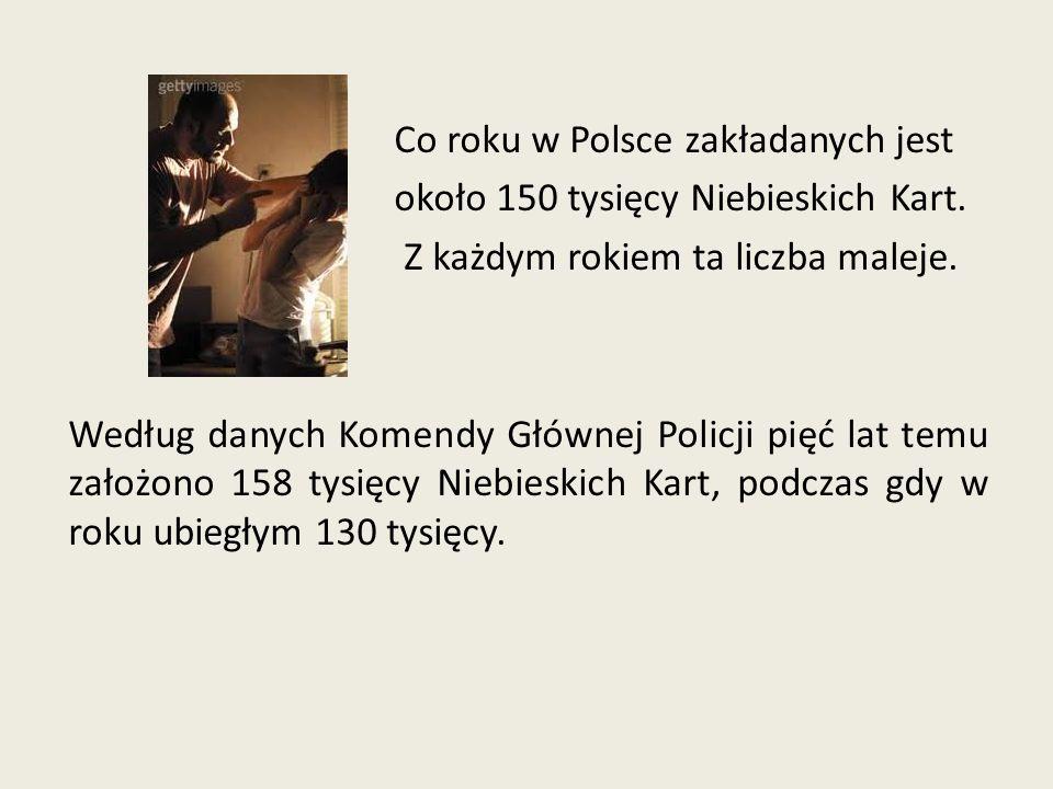 Co roku w Polsce zakładanych jest około 150 tysięcy Niebieskich Kart. Z każdym rokiem ta liczba maleje. Według danych Komendy Głównej Policji pięć lat