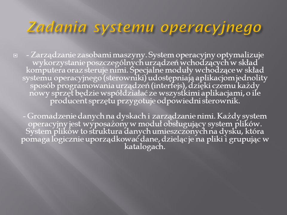 - Zarządzanie zasobami maszyny.