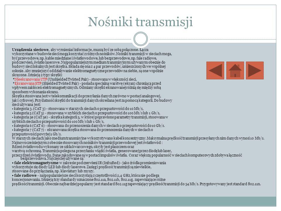 Nośniki transmisji Urządzenia sieciowe, aby wymieniać informacje, muszą być ze sobą połączone. Łącza wykorzystane w budowie sieci mogą korzystać z róż