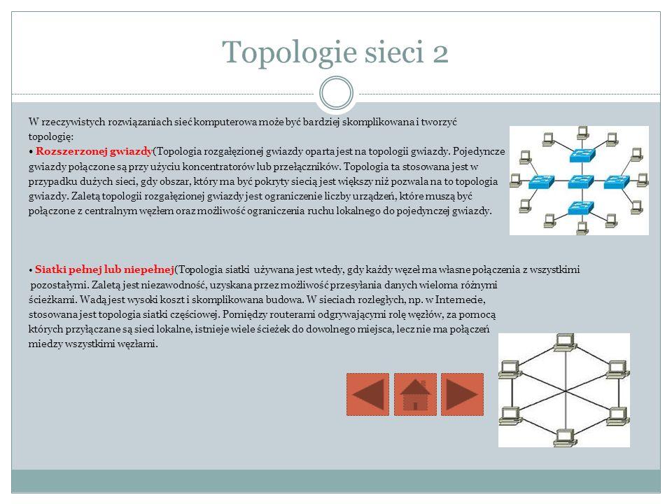 Topologie sieci 2 W rzeczywistych rozwiązaniach sieć komputerowa może być bardziej skomplikowana i tworzyć topologię: Rozszerzonej gwiazdy(Topologia r