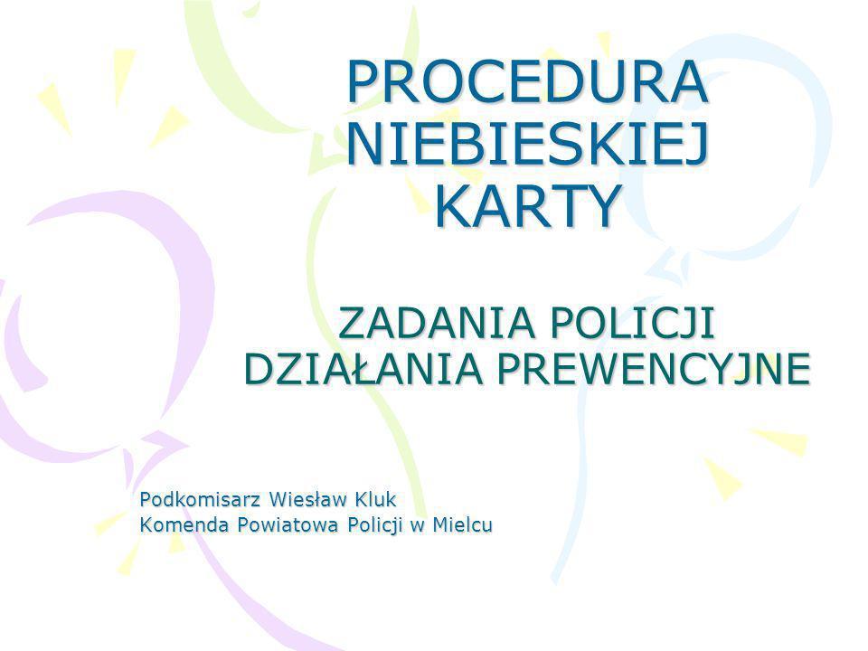 PROCEDURA NIEBIESKIEJ KARTY ZADANIA POLICJI DZIAŁANIA PREWENCYJNE Podkomisarz Wiesław Kluk Komenda Powiatowa Policji w Mielcu